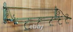 Vieux Antique Vtg Solid Brass Railroad Shelf Luggage Rack Wall Coat Hook Pullman