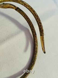 Vieux Art Antique Deco Egyptian Revival Bangle Snake Emeraude Verre Vert Whimsical