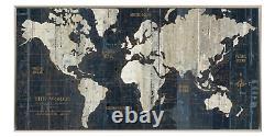 Vieux Monde Carte Encadrée Toile Murale Art Décor Vintage Bleu Photo 41.125 X 21.125