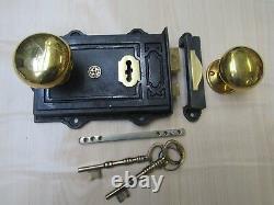 Vieux Vintage Victorian Rustic Retro Rim Door Lock Latch + Rim Door Knob Set