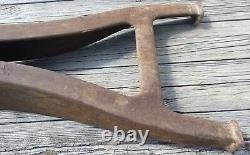 Vieux Vtg Antique Industrial Iron Table Machine Base Leg Metal Heavy Paire Set Of 2