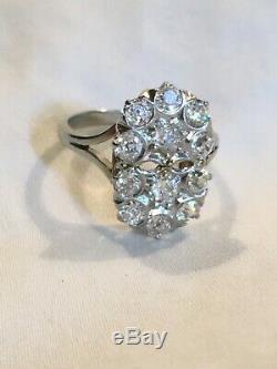 Vintage 14k Bague Or Blanc Diamant, 12 Diamants Ancienne Mine Cut. 93 Tcw