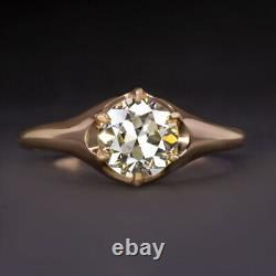 Vintage 1.25ct Vs2 Diamond Engagement Ring Old Europeen Cut Rose Gold Antique