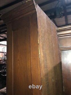 Vintage 2 Porte Oak Upright Kitchen Hutch Cabinet Vieux Vernis 89 X 50,5 X 15
