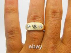 Vintage Antique Hommes 1.13ct Old European Mine Cut Diamond Gypsy Ring 14k Or