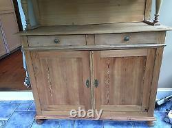 Vintage Antique Old English Pine Cabinet Glass Cupboard Estate Furniture