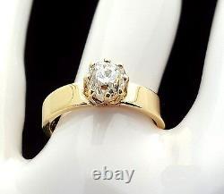 Vintage Circa 1879 Old Mine Cut Diamond Fiançailles Anneau De Fiançailles Or Jaune Massif 18k