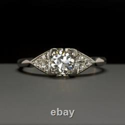 Vintage F Vs1 Diamond Platinum Bague De Fiançailles Old European Cut Classic Antique