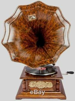 Vintage Hmv Antique Vieille Machine En Bois De Collection Gramophone Phonographe Bg 08