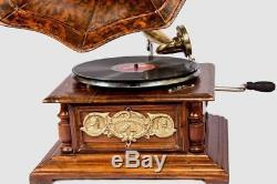 Vintage Hmv Antique Vieux Gramophone Machine De Collection En Bois Phonographe Hb 016