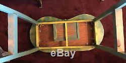 Vintage Kidney Bureau En Coiffeuse Vanity Avec Matching Tabouret Et Old Label