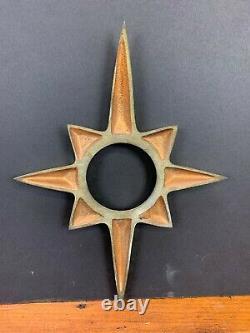 Vintage New Old Stock Plaque De Laiton Porte Atomique Starburst Rosace Milieu Du Siècle 2