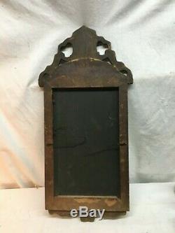 Vintage Old Gravé Verre Miroir Cut Cadre En Bois Des Années 1800 Élégant