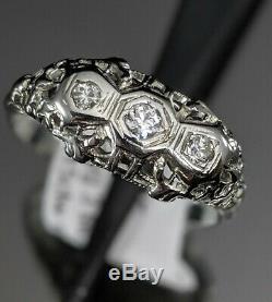 Vintage Or Blanc 18 Carats Art Déco Ancien 3 Pierre Diamant Filigrane Anneau Antique Nice