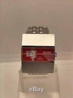 Vintage Sicura Heure Sautante Rouge Cadran De La Montre Dames Rares Années 1970 Old Poignet Mécanique