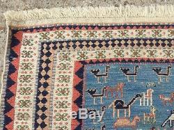 Vintage Soumak Kilim Tapis Vieux Pays Laine Vintage Maison Kelim 160x106cm