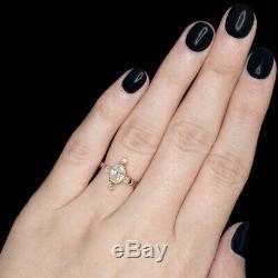 Vrai Antique 1 Carat Ancienne Mine À Diamants Bague En Or Rose Victorienne Ovale Vintage