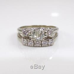 Vtg Antique 14k Bague En Or Blanc Ancienne Mine À Diamant De Mariage Set Taille 7 Lhe2