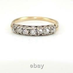 Vtg Antique Early Old Mine Cut Diamond 14k Yellow Gold Ring Band Taille 7 Lhe3