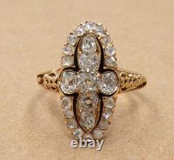 Vtg Antique Victorienne Ancienne Mine Rose Cut Diamond Or Jaune 18k Taille De Bague 7 Ljc2