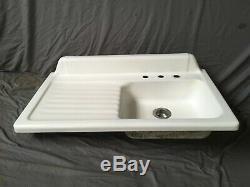Vtg Fonte Blanc Porcelaine 42 Cuisine Ferme Plonge Drainboard Vieux 130-19e