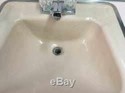 Vtg Fonte Rose Rétro Drop In Sink Vieux Milieu Du Siècle Bath Vanity Top 755-17e
