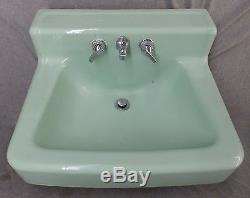 Vtg Jadéite Verte Porcelaine Fonte Top Shelf Sink As Old 1879-1816 Salle De Bains