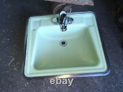 Vtg MID Century Deco Pale Jadeite Green Bathroom Set Old Tub Sink Toilettes 438-20e