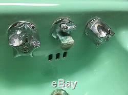 Vtg Milieu Du Siècle Art Déco Jadéite Verte Porcelaine Ancienne En Fonte Bath Sink 46-19e