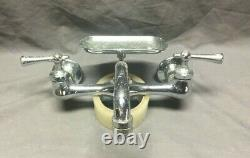 Vtg Speakman High Back Kitchen Sink Robinet Chrome Brass 8 Old Fixture 442-19j
