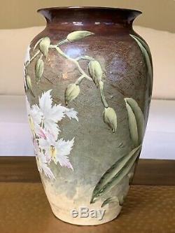 Weller Vintage Poterie Company Floral Vase Sur Glaçure Décoration Antique Vtg