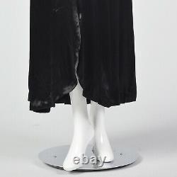 Xxs 1930s Noir Satin Liquide Halter Robe Sans Dos Soir Gown Old Hollywood